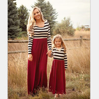 Wholesale Maxi Red Wines - Mother daughter dresses Striped Maxi dress Long sleeve Autumn Women Wine red dresses Girls dress 2017 European