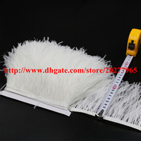 Wholesale White Fringe Trim - Ostrich Feather Trim 10yards lot Bright Color Yellow Pink Royal Blue Turquoise Red Purple White Black Ostrich Feather Trimming Fringe