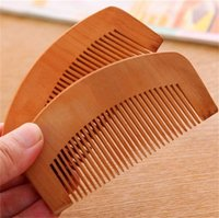 Wholesale Hair Tooth Comb - Hot Natural Peach Wooden Hair Brush Comb Beard Comb Pocket Comb Wood Combs Close Teeth Anti-static Head Massage Hair Care Hair Brushes