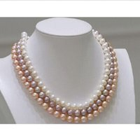 "Wholesale Triple Strand Pearl Necklace 19 - triple strands 7-8mm round south sea white purple pink pearl necklace 18""19""20"""