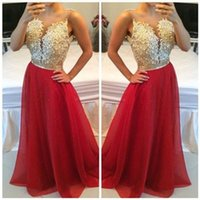 Big Disocunt Vestidos Longo Appliques Lace Burgund Gold Champagner Red Brautjungfer Kleider Lange Prom Party Kleid mit Kristall Schärpe