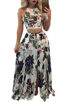 Wholesale Dress Trendy Tops - Trendy Floral Crop Top Split Maxi Skirt Set 2017 Modest Fashion Two Pieces Women's Full length Party Boho Holiday Dresses
