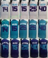 Wholesale Michael Shirts - Best Quality 15 Kemba Walker 25 Al Jefferson Jersey 14 Michael Kidd Gilchrist Shirt Uniform 40 Cody Zeller Home Road Away Purple Green White