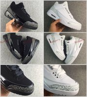 Wholesale Cheap Winter Cats - Super Quality Retro 3 III Black White Cat Grey Elephant print Basketball shoes men 2017 Cheap College Grey 3s OKC Home Sneakers 40-46