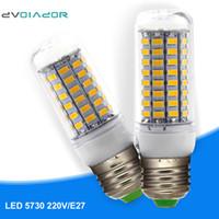 Wholesale livingroom lamps - Wholesale- DVOLADOR Bright E27 SMD 5730 LED Bulb 220V-240V LED Corn Lamp 24 36 48 56 69 LEDs livingroom Pendant lights Decorative Lighting