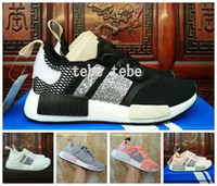 Wholesale Sequin Lace Mesh - NMD R1 Primeknit Tri Color Pink Black Triple OG Mens Running Shoes Nmds Runner Primeknit Sneakers Sequins Classic Casual Shoes Size 36-45