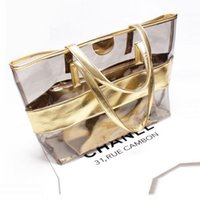 Wholesale handbag transparent crystal - 2pcs set Women Jelly Bag PVC Transparent Beach Bags England Style Travel Large Capacity Zipper Handbags Fashion Female Crystal Tote Purse