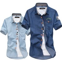 704bfe3c640 Wholesale- korean fashion casual men shirt design denim shirts men s Slim  Fit cowboy short sleeve shirt camisa social masculina