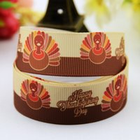 Wholesale Thanksgiving Hair Accessories - Cartoon Roast Turkey Printed Grosgrain Ribbons Happy Thanksgiving Day Party Jewelry Decorative Accessories Kids Hair Bow Craft 100Yards