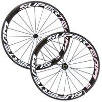Wholesale Color 24 Bicycle Wheel - Superteam Full Carbon Wheelset 50mm Clincher Tubular Wheel 700C Road Bicycle wheel Road Bikes Pink Color Free Shipping