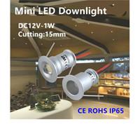 Wholesale 12v Furniture Lights - 9pcs round mini led spotlight 1W LED downlight DC12V unput 30D 120D ceiling spotlights with 15mm cut out furniture light