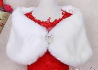 Wholesale Lace Ruffle Scarf - Free Shipping Hot Sale New Noble Beading Faux Fur Bridal Wraps Wedding Shrug Shawl Scarf Bolero Coat warmly and nice Wedding Jacket