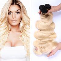 Wholesale Cheap Blonde Hair Extensions Dark - 8A Cheap Ombre Malaysian Hair Weaves #1B 613 Blonde Dark Roots Ombre Body Wave Human Hair Extensions Two Tone Virgin Hair