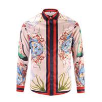 Wholesale Batik Mens Shirt - 2017 stylish Design 3D snake Embroidery Floral Print Mixture Colour luxury harajuku mens long sleeved shirts M-3XL medusa casual shirt