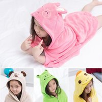 Wholesale Wholesale Kids Hooded Towels - 2017 Kids Animal Bathrobe Toddler Girl Boy Baby Cartoon Pattern Towel Hooded Bath Towel Terry Wrap Bath Robes