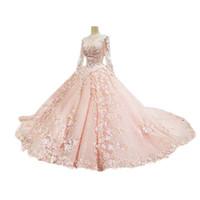 machen chinesisches kleid großhandel-2018 neue Ankunft Ballkleid Royal Court Brautkleider Mit Appliques Long Sleevees Nach Maß Formale Chinesische Hochzeitsgast Kleid