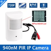 2017 HD 1.0MP 720P PIR STYLE cámara IP con POE H.264 + Invisible 940nm IR Leds 10m Nightvision + Audio de entrada de Seguridad en el hogar