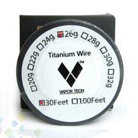 pies de titanio al por mayor-Control de temperatura del cable de titanio del vaporizador mod TA1 Cable de titanio 26 g 28 g 30 g Vapor Tech 30 pies Resistencia de titanio del cable de calefacción DHL Free
