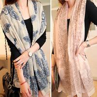 ingrosso pashminas blu-DHL LIBERO a buon mercato scialli di velluto in chiffon di alta qualità blu e bianco stile porcellana sottile sezione di seta floss pashmina donne sciarpa scialle