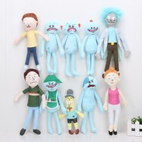 Wholesale Funny Cartoon Movies - 5pcs lot 24-30cm Cartoons Rick and Morty Happy Smile Sad Meeseeks Mr Pooputthole Plush Stuffed Doll Toys For Funny Plush toy gifts
