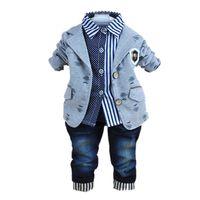 bebek kışlık takım elbise seti toptan satış-2017 yeni moda bebek kış giyim için polo gömlek ile 3 adet erkek giysileri takım elbise pamuk kot pantolon setleri
