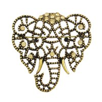 Wholesale Elephant Pins - Retro Style Animal Brooches Vintage Antique Gold Silver Color Alloy with Rhinestone Elephant Brooches For Fashion Lady