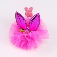 Wholesale asian long hair resale online - Baby Girls Rabbit Ear Hair clips Princess Barrettes with Lace Flowers for Girls Children Long Ear Hair Clip colors