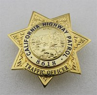 Wholesale new California State Highway Patrol TRAFFIC OFFICER CHP metal badge Brass limited Halloween cosplay badge