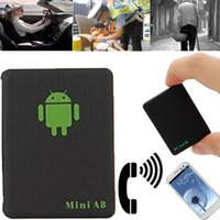 ingrosso gps locator per i bambini-Mini localizzatore GPS A8 per auto Localizzatore globale in tempo reale 4 frequenze GSM GPRS Supporto per dispositivi di localizzazione automatica Android per bambini Pet Car