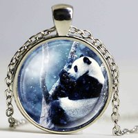Wholesale Giant Animals Pictures - NingXiang Fashion Multi Designs Cute Cartoon Giant Panda Bear Pictures Glass Cabochon Pendant Ball Chain Necklace Jewelry Gifts