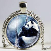 Wholesale ball panda - NingXiang Fashion Multi Designs Cute Cartoon Giant Panda Bear Pictures Glass Cabochon Pendant Ball Chain Necklace Jewelry Gifts