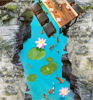 boden vinyl rollen großhandel-Vinyl Bodenbelag Fototapete Custom Klebstoff Vinyl Rollen River Lotus Karpfen 3d Bodenfliesen Fototapete