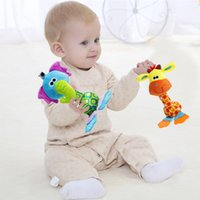 Wholesale Bb Mobile - Wholesale- Baby Kids Toys Soft Plush Toys 22cm Cartoon Animal BB Sounder Rattles Teether Mobile Rattle Squeaker Educational Newborns