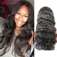 Wholesale European Remy Wigs - Glamorous Color 1B Malaysian Virgin Remy Human Hair Lace Wig 10-30Inch Peruvian Indian Brazilian Body Wave Full Lace Wig With Baby Hair