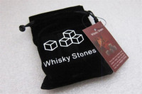 Wholesale Stone Ice Rock - Natural Whiskey Stones 9pcs set Whisky Stones Cooler Whisky Rock Soapstone Ice Cube With Velvet Storage Pouch