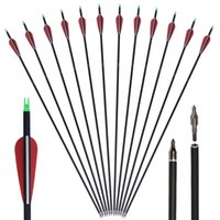 Wholesale Tip 31 - 6pcs Huntingdoor 7.8mm Carbon Shaft 31 Inch Archery Arrows with Field Points Replaceable Tips Plastic Vanes