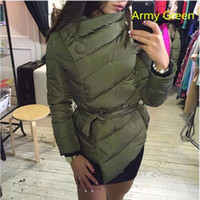 Wholesale Free Style Argyle - Hot Sale Winter Arm Green Winter Down Coats New Style Sash High Neck Long Sleeves Button Warm Jackets Plus Size 3XL Free Shipping !!!