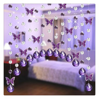 Party Hot 1 metros Glass Crystal Beads Cadeia Curtain Window Passage Casamento Backdrop Violet Butterfly Bead cortina Free DHL