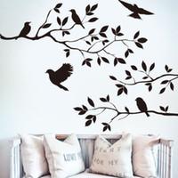 duvar çıkartması siyah dal toptan satış-Duvar çıkartmaları Duvar Çıkartması Çıkarılabilir Sanat Siyah Kuş Ağacı Şubesi Ev Mural Dekor