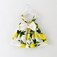 Wholesale Yellow Flower Costume - 2017 vintage Flower girls dresses Baby Kids Clothing Summer children Bow Printed Ball gowns princess costume party dress toddler clothes