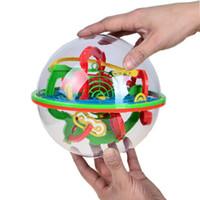 yapboz sihirli küre toptan satış-100 Adımlar Küçük Büyük Boy 3D Labirent Sihirli Haddeleme Küre Topu Mermer Bulmaca Küpleri Zeka Oyunu Küre Labirent