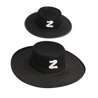 Wholesale Costumes Top Hats - Zorro Hat Halloween Costumes Party Hats Men's Costume Spanish Hat and Goggles