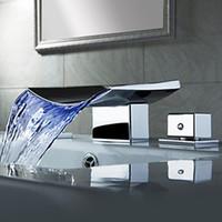 Wholesale- Superfaucet Bathroom Faucet Waterfall,LED Waterfall Faucet,Sink Faucet Waterfall,Water Tap LED Temperature Controlled