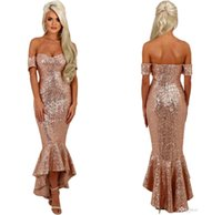 Wholesale Hi Lo Prom Dress Cheap - 2018 Sparkly Rose Gold Sequins Cheap Short Mermaid Prom Dresses Off the Shoulder Hi-Lo Formal Evening Party Gowns Custom Made