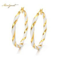 Atacado - Meaeguet Cute Twist Distorção Arredondado Big Hoop Earrings para Mulheres Gold-Color Fashion Jewelry Statement Earrings