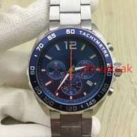 Wholesale Quartz Shop - AAA quality Luxury Brand watch men bule big Dial Stainless Steel quartz chronograph Watch Mens dive male Watches wristwatch free shopping