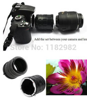 Wholesale Wholesale Rebel Cameras - Wholesale- Metal Macro Extension Tube Ring Adapters Set For Camera Lens Adapter Ring 50D 40D 30D 600D 7D ca@on eos Rebel T1i XTi XS