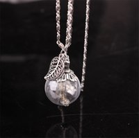 Wholesale Handmade Diy Fashion - hot! 2017 new fashion leaves dandelion seed glass pendant necklace DIY handmade silver plated retro necklace jewelry for women accessories