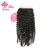 "Wholesale Parts Stores - Queen Hair Top Quality Lace Closure Brazilian Virgin Human Hair Kinky Curly Free Part 8""-20"" in Store DHL Free Shipping"