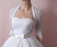 Wholesale Three Quarter Black Jacket - Cheap Simple White Bridal Jacket Chiffon Three Quarters Sleeves Ruffles Custom Made Wraps Wedding Bolero Cheap Bridal Wear Free Shipping